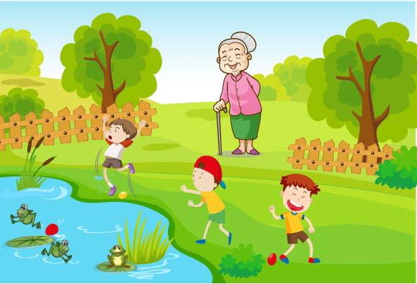 мальчики бабушка у пруда с лягушками
